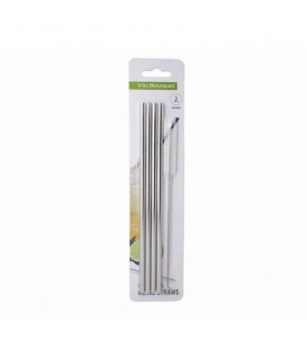 Stainless Steel Straws Set of 4 (Straight) Vin Bouquet, Spain